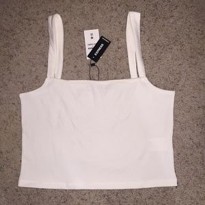 Express Square Neck Cropped Tank Top White size M